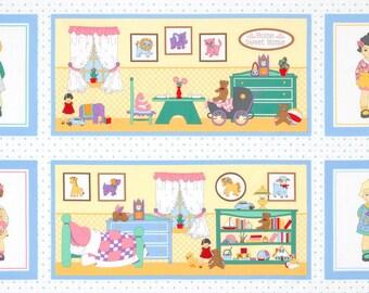 Childeren's Vintage Fabric, Dolly Jean Cotton Panel by Darlene Zimmerman 27 x 44 inches