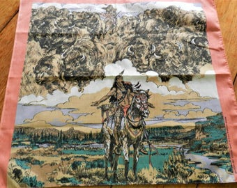 NOS Native American Scarf, Indian Scarf, Buffalo Scarf, Buffalo Mat, Indian Kerchief, Warrior Scarf, Buffalo Hunt, Never Used