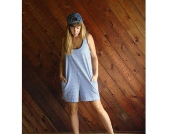 20% off SUMMER SALE. . . Striped Sleeveless Cotton Romper Playsuit - Vintage 90s - S/M
