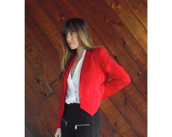 20% off SUMMER SALE. . . Bright Red Cropped Blazer Jacket - Vintage 80s - SMALL