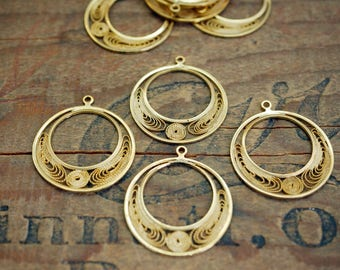 Gold Earring Finding Delicate Scroll Earring Dangle (4) KP23