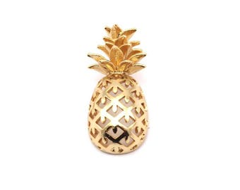Gold Plated Pineapple - 1 Gold Plated Brass Pineapple Pendant (30x13.4x6.3mm) N250 Q117
