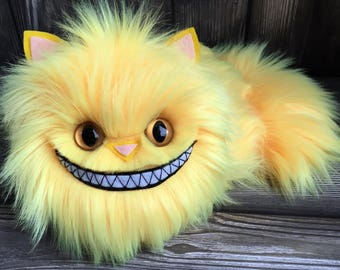 NEW! Tindle Kitty Pillow 11 inch grinning sunshine yellow fur by Karen Knapp of Tindle Bears