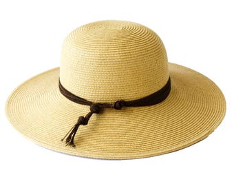 Sun Hat SPF50 Sunblock Wide Brimmed Straw Hat Crushable Hat Western Style Travel Hat Natural Tan Straw Beach Hat Festival Fashion