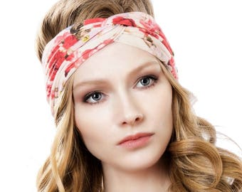 Turban Headband Women Floral Boho Headwrap Turband Floral Headband Headband Women's Boho Headband Gift For Her Spring Fashion Rose Print