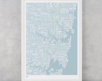 Sydney Type Map Screen Print, Sydney Wall Art, Sydney Word Map, Sydney Wall Poster, Sydney Art Print, Sydney Artwork, Sydney Text Map
