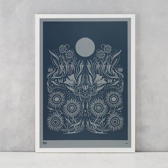 Moonlight Screen Print, Liited Edition Moonlight Screen Print, Moonlight Wall Art, Moon Wall Decor, Flower Wall Art, Flowers Wall Decor