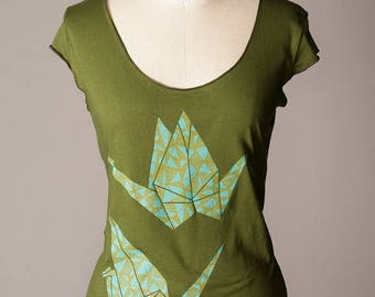 SUMMER SALE womens shirt, paper crane shirt, origami shirt, good luck gift