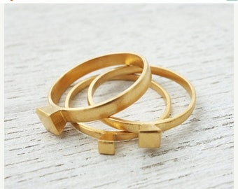 On Sale 40% off, Geometric Ring Set, stacking rings