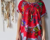 Off The Shoulder Grateful Dead Dancing Bears Bear Spiral Tie Dye Upcycled Tshirt Tee Top Shirt Womens Clothing
