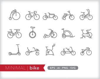 Minimal bike line icons | EPS AI PNG | Geometric Bicycle Clipart Design Elements Digital Download