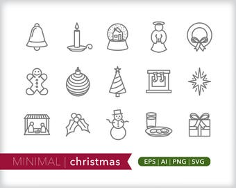 Minimal Christmas line icons | EPS AI PNG | Holiday Clipart Design Elements Digital Download