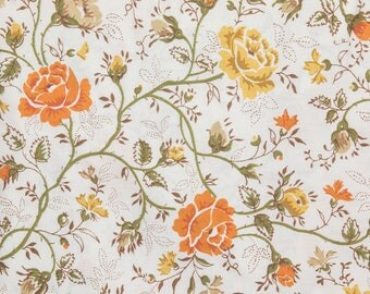 Vintage double bed sheet 66 x 92 inches Orange and yellow flowers Brown and Olive green leaves and stems Nice piece of fabric