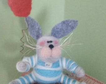 Goodnight Moon Bunny Felted Figurine and Ornament