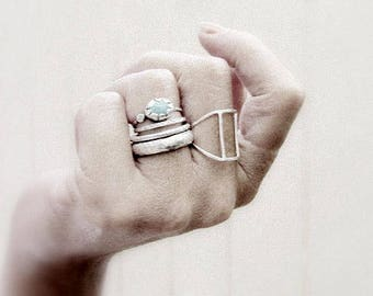 Hollow geometric sterling silver ring ,  Handmade sterling silver ring