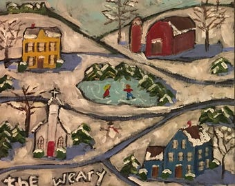 Weary World Folk Art Winter scene original