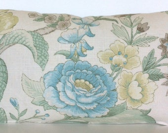 """20"""" x 12"""" Lumbar Rectangle Throw Pillow Cover Floral Flowers French Country Leaves English Cottage Robin Egg Blue Beige Ivory Linen Tropical"""
