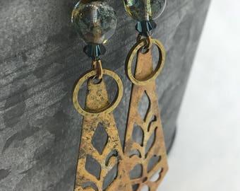 Bohemian Style Earrings, Handcrafted Earrings, Czech Glass Earrings, Patina, Niobium Ear Wires, Earrings, Tracee Dock, The Classic Bead