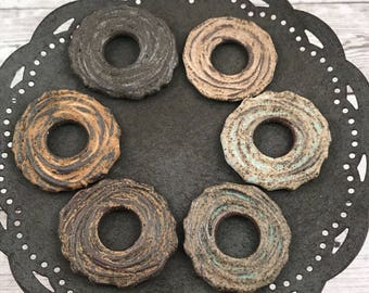 Handmade Chocolate Stoneware Small Ceramic Clay Rustic Spiral Texture Donut Bead - Made To Order - Craft Supply - Handmade Bead
