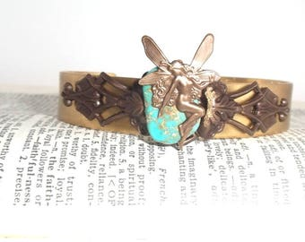 Art Nouveau Whimsical Fairy and Turquoise Gemstone Natural Aged Brass Bracelet Cuff