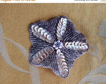 On sale Pretty Vintage Peach,Beige Sequin, Beaded Floral Pin (A14)