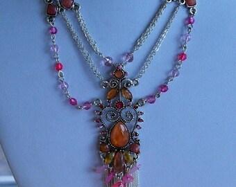"On sale Beautiful Vintage Pink, Peach Stone Bib Necklace, Silver tone, Adjustable, 14-1/2""-18"" (I5)"