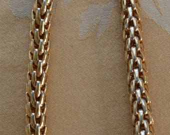 """NAPIER Gold tone Woven Rounded 10mm Necklace, Adjustable, Vintage, 14-1/4""""-16-1/4"""" (TB81)"""