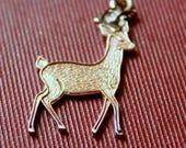 4th of July Sale STERLING Charm 1950s Deer Buck Elk Antlers Signed Pendant Charm Bracelet Silver Vintage