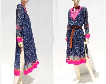 Ethnic Cover Up Vintage Caftan Dress Beach Cover Up 80s Beach Dress Vintage Beach Caftan Bathing Suit Coverup Polka Dot Dress Ethnic Dress m