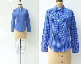 70s Secretary Blouse 70s Polka Dot Blouse Vintage Secretary Pussy Bow Blouse Blue White Polka Dot Button Down Blouse Ascot Bow Blouse s, m