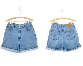 Vintage LEVIS Jean Shorts Faded Blue Denim Shorts High Waist 90s Washed Out Jean Shorts 1990s Vintage Levis Shorts Women size 10 Relaxed Fit