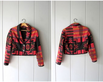 Tribal Print Cotton Jacket Pink Black Cropped Coat Ethnic Southwestern Cotton Knit Open Jacket Boho Hippie Vintage 90s Small