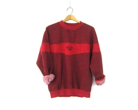 Red Bugle Boy Sweatshirt Sporty Oversized LOGO Sweater Unisex Baggy Striped Red & Black Athletics Jumper Unisex Shirt Size L