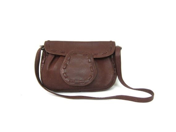 Small Brown Leather Purse 1970s Saddle Bag Pouch Vintage Simple Boho Bag Bohemian Hippie Chic Festival Concert Purse