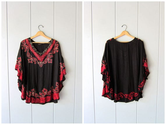 Vintage Dashiki Tunic Top Ethnic Boho Festival Shirt Batwing Bohemian Caftan Black Summer Butterfly Blouse Swimsuit Cover Womens Free Size
