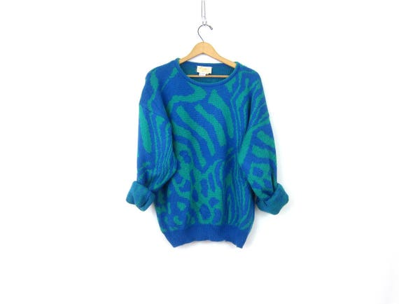 70s Blue Green Abstract Sweater Vintage Pullover Knit Top Soft Lady Lilly Retro Sweater Womens Size Large XL Extra Large
