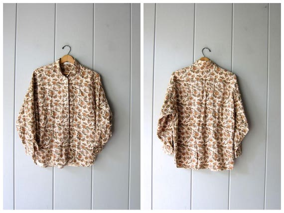 90s Floral Blouse Button Up White Brown Floral Blouse Long Sleeve Cotton Top Preppy Ann Taylor 80s Fall Casual Shirt Womens Small Medium