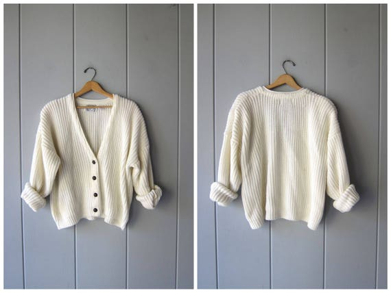 80s White Sweater Button Up Cardigan Oversized Cropped CHUNKY Ribbed Knit Sweater Vintage Preppy Basic Slouchy Button Up Sweater Womens 2XL
