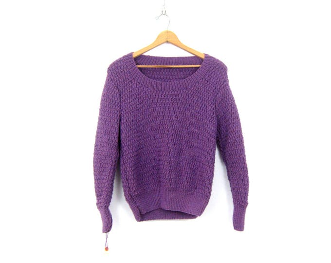 Handknit Purple Sweater Hand Knit Vintage Spring Sweater Plain Basic Sweater Minimal Shirt Top Women's Scoop Neck Womens Size Large