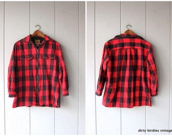 Vintage Plaid Flannel Shirt 90s Grunge Hunting Shirt Buffalo Check Red Black Flannel Zip Up Checkered Cotton Flannel Work Shirt Mens Large
