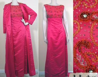 Vintage 1960s Hot Pink Silk Shantung Coat & Beaded Gown by Malcom Starr SZ S/M