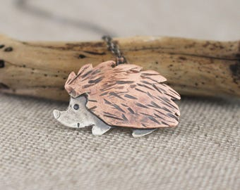 Hedgehog Necklace, Copper, Silver