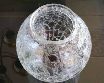 YAVA Glass - Recycled Clear Crackled Glass Globe Lamp Shade