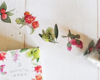Watercolor Berries Washi Tape - Botanical - Nature Journal - Travelers Notebook - Journal - Midori - Scrapbooking - Paper Crafting