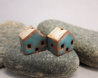 READY TO SHIP...Miniature Terracotta House Beads...Set of 2...Matte Turquoise Walls/Eggshell Roof