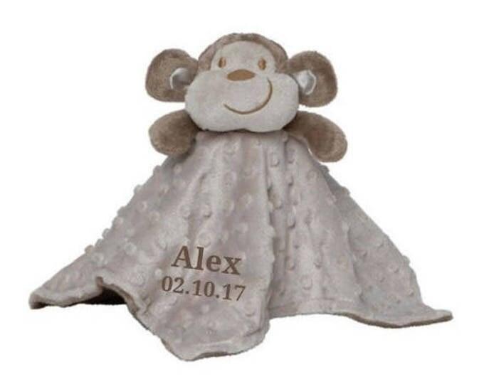 SALE Personalized Monkey Minky Security Blanket, Personalized Security Blanket, Embroidered Baby Keepsake
