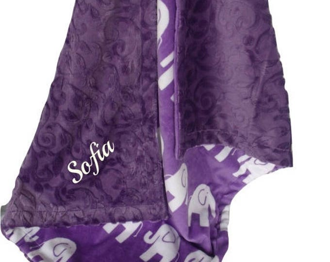 SALE Purple Elephant Minky Baby Blanket, Orchid Elephant Minky, available in three sizesCan Be Personalized