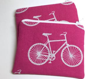 Card Zip Wallet, Coin Pouch - Pink Bicycles