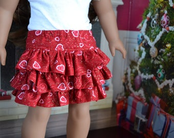 18 inch Doll Clothes - Sparkly Hearts Flirty Skirt  - love valentines - RED PINK SILVER - fits American Girl