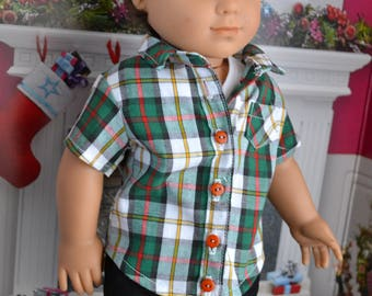 18 inch Doll Clothes - Plaid Buttondown Shirt - Green Red White - fits American Girl - for BOY or GIRL